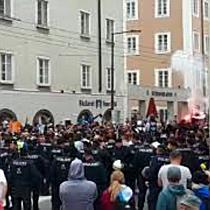 Fanmarsch zum EL-Match Salzburg gegen Marseille