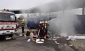 Sperrmüllpresse im Recyclinghof Salzburg geriet in Brand