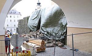 Historische Mauer in Salzburg-Mülln eingestürzt