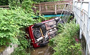 22.07.2018 06:15 PKW landet beim Steinlechner Kreisverkehr in Bach (S)