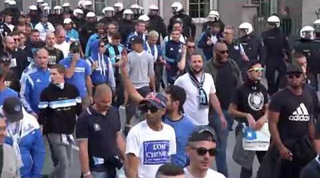 Marseille-Fans ziehen durch Salzburger Innenstadt